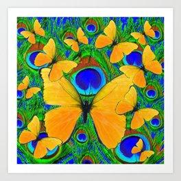 FLYING YELLOW BUTTERFLIES GREEN PEACOCK ART Art Print