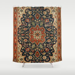 Central Persia 19th Century Authentic Colorful Dark Blue Red Tan Vintage Patterns Shower Curtain