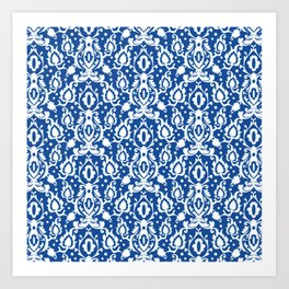 Blue Casbah Damask Art Print