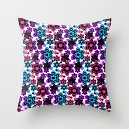 Rainbow Floral Abstract Throw Pillow