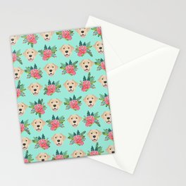 Yellow Labrador Retriever floral bouquet flowers yellow lab dog breed pattern gifts Stationery Cards