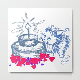 kitty cat birthday in blue Metal Print