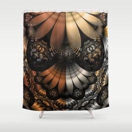 Autumn Fractal Pheasant Feathers in DaVinci Style Shower Curtain