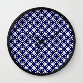 Dark blue and white interlocking circles Wall Clock