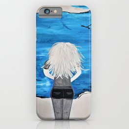 Blue Sky and the Future Painting by Jodi Tomer. Blonde Girl Portrait iPhone Case