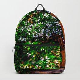 White Flowers In A Garden Vase Backpack