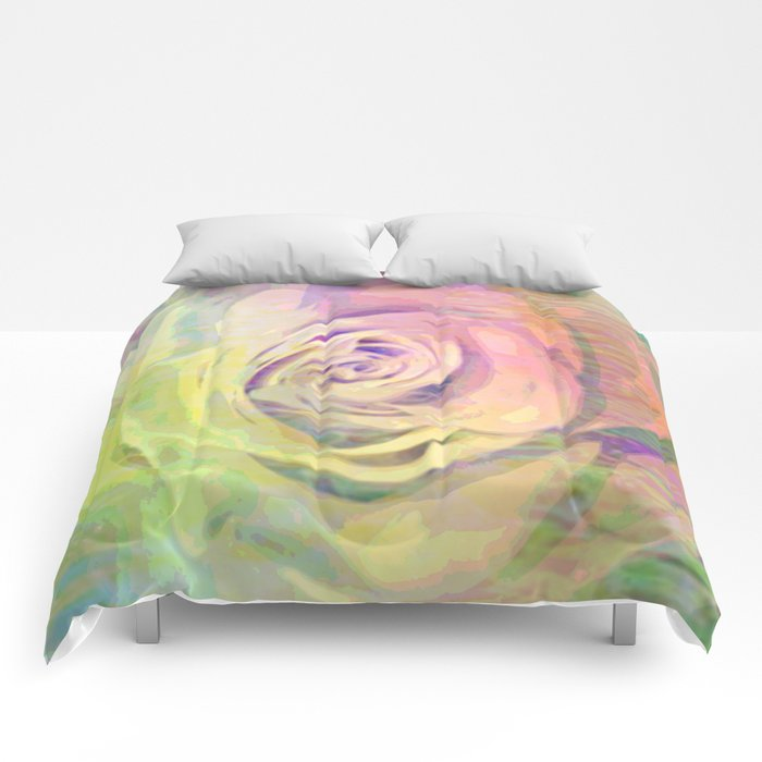 Painterly Pastel Rose Abstract Comforters