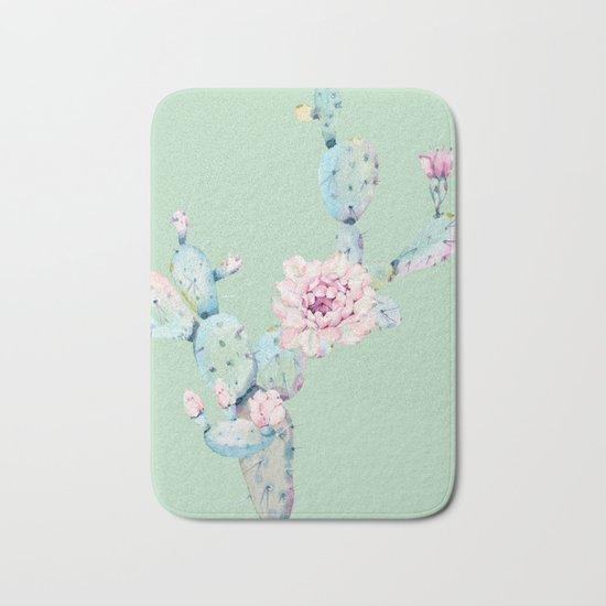 Rose Desert Cactus Mint Green + Pink Bath Mat