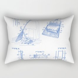 Dust Pan Attachment for Brooms Vintage Patent Hand Drawing Rectangular Pillow