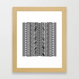 Black and White Adinkra Symbol African Print Pattern Framed Art Print
