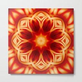 Fire Lotus Mandala Metal Print