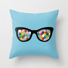 Diamond Eyes on Blue Throw Pillow