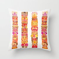 tiki Throw Pillows featuring Tiki Totems – Fiery Palette by Cat Coquillette