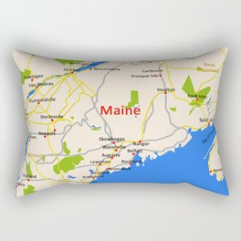 Map of Maine state, USA Rectangular Pillow