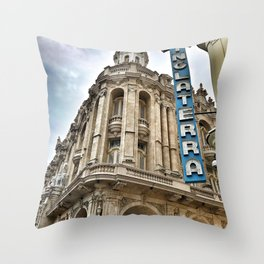 Hotel Inglaterra Street Corner, Havana, Cuba Throw Pillow