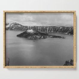 Mountain Lake View B&W Serving Tray