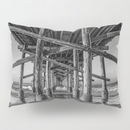 Morning under Newport Pier in Black and White Pillow Sham