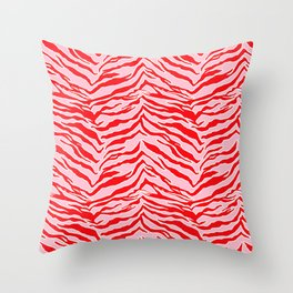 Tiger Print - Red and Pink Throw Pillow