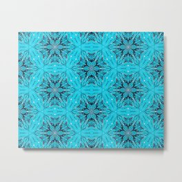 Black Snowflakes stars ornament on Blue Metal Print