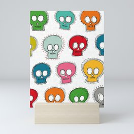 sew skully white Mini Art Print