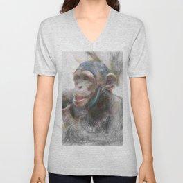 Artistic Animal Young Chimp Unisex V-Neck