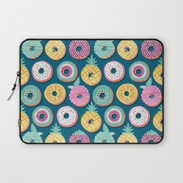 Undercover donuts // turquoise background pastel colors fruit donuts Laptop Sleeve