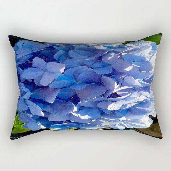 Blue Hydrangia Flower Blossom Rectangular Pillow