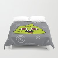 poop Duvet Covers featuring Zombie Poo by CindyMakes
