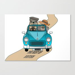 The  Best of British - English Bulldogs in a Morris Minor Canvas Print