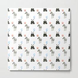 Panda and Zebra Balloons Pattern, Baby Animals Birthday Pattern Metal Print