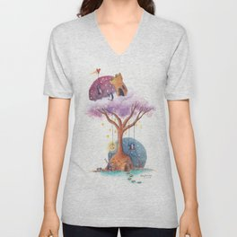 Penguins and Their Dream Tree with Castle Above and Igloo Below Unisex V-Neck