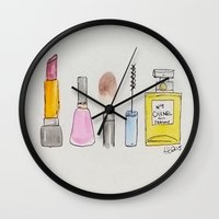 makeup Wall Clocks featuring Makeup Necessities  by Sweet Colors Gallery