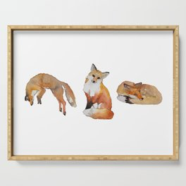 3 Watercolor Foxes Serving Tray