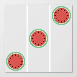 Watermelon Clock Triptych Canvas Print