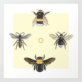 Bees on bees Art Print