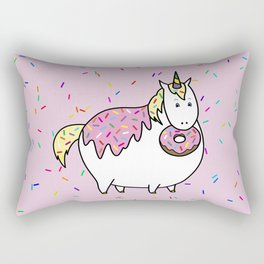 Chubby Unicorn With Colorful Doughnut Sprinkles Rectangular Pillow