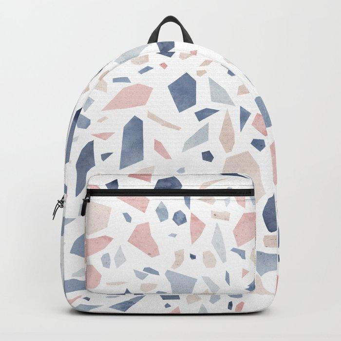 Terrazzo vintage pastel blue pink Backpack