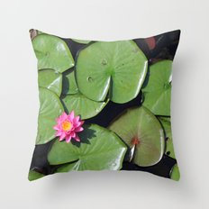 Pink Flower in the Pond Throw Pillow