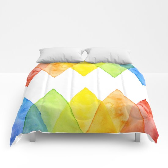 Geometric Watercolor Shapes Triangles Pattern Comforters