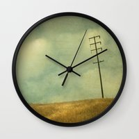 joy division Wall Clocks featuring The Joy Of Division by Honey Malek