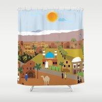 arab Shower Curtains featuring Peaceful Arab village In the desert by Design4u Studio