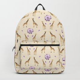 Giraffes And Flowers Backpack