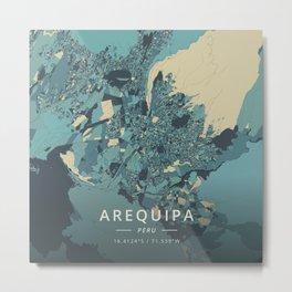 Arequipa, Peru - Cream Blue Metal Print