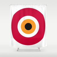 evil eye Shower Curtains featuring evil eye, red, by Gorgeous Graphic Design