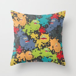 Funny microbes. Throw Pillow