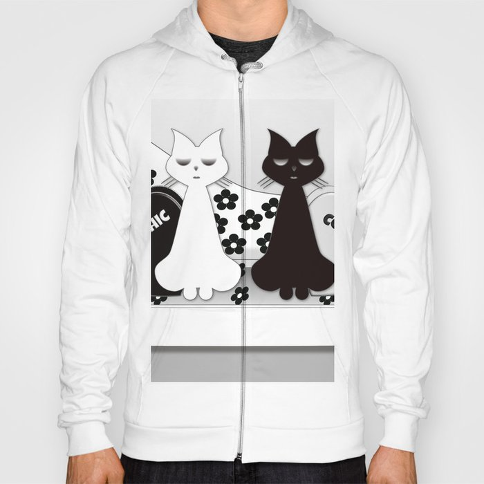 Black and White cats on the Black and White Sofa Hoody
