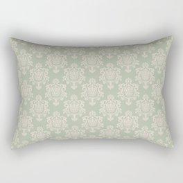 Sage Green and Cream Damask Pattern Rectangular Pillow