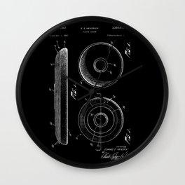Frisbee: Edward E. Headrick Frisbee (Flying Saucer) Patent - White on Black Wall Clock