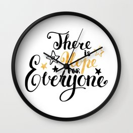There is a Hope for Everyone - Black and gold brush pen lettering. Wall Clock