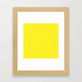 Canary yellow - yellow color - White Lines Grid Pattern Framed Art Print
